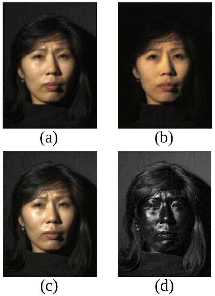 Image 1: Separating specular and diffuse reflected light. Original image by Debevec et al. – Copyright ACM 2000 – https://dl.acm.org/citation.cfm?doid=311779.344855