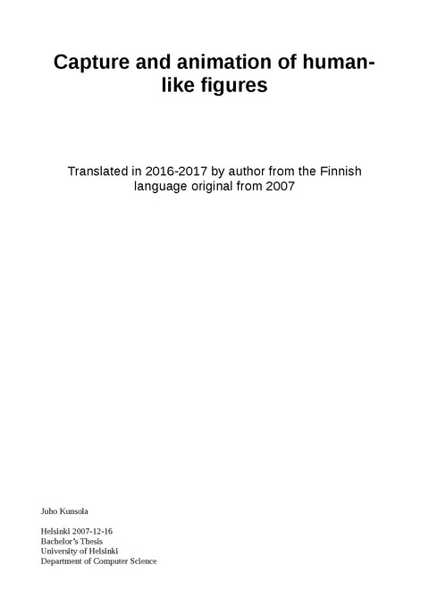 My 2016-2017 English translation of my original B.Sc. thesis researched, written and passed in autumn semester 2007 in the University of Helsinki. Read at least the 'Motivation' and 'Conclusion'.